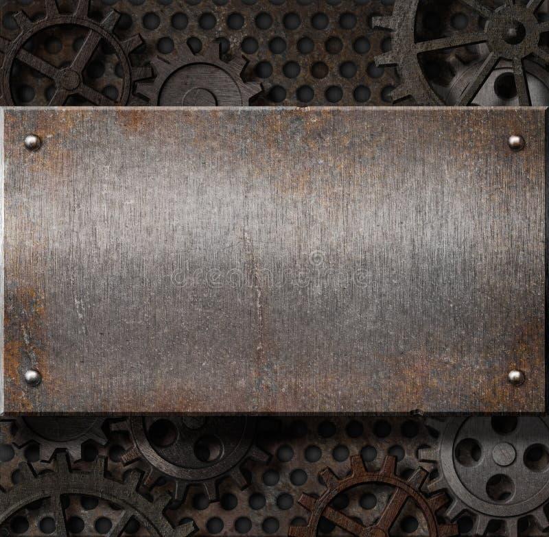 De plaat van het metaal over roestige toestellenachtergrond stock fotografie