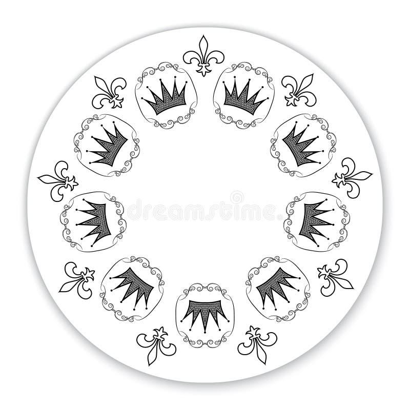 De plaat van het Oundkader met een uitstekend patroon Voor registratie van een uitnodigingskaart, gelukwensen, markeringen Vector royalty-vrije illustratie