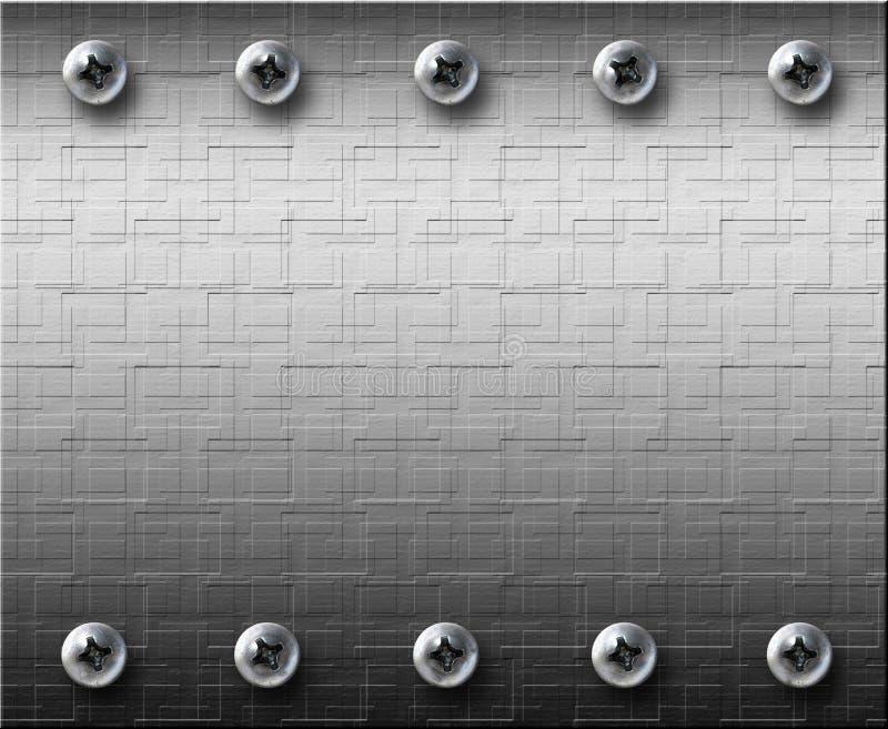 De plaat van het staal metall met bouten stock foto's