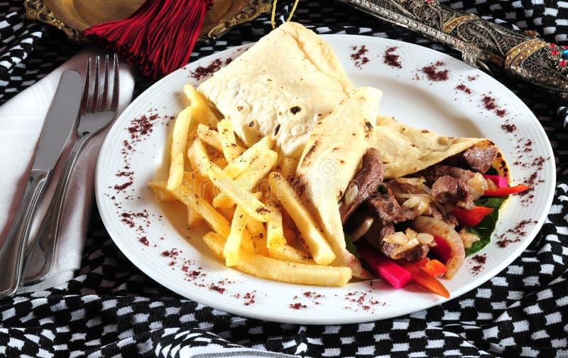 De plaat van Shawarma. stock afbeeldingen