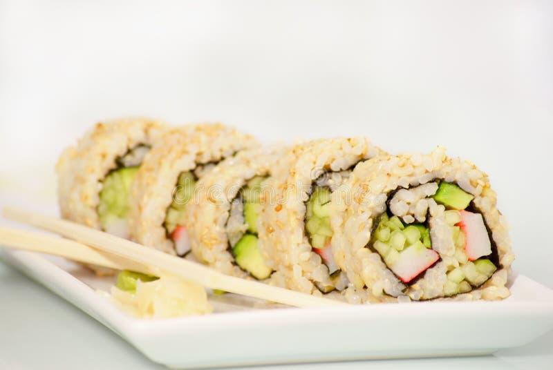 De plaat van sushi stock foto