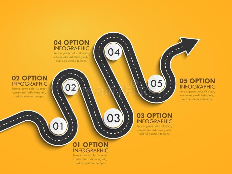 De plaats infographic malplaatje van de wegmanier met een gefaseerde structuur Het winden de chronologie van de pijlweg stock illustratie