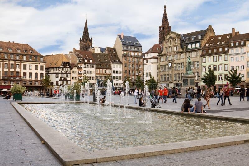 De Plaats Kleber in Straatsburg. De Elzas, Frankrijk royalty-vrije stock foto's
