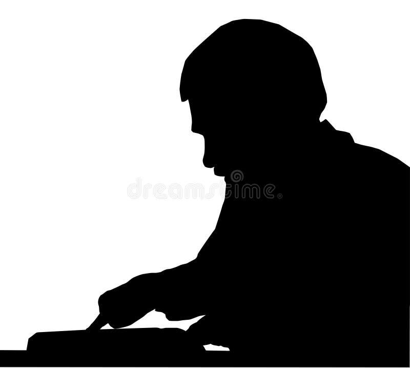 De plaats van de de mensenholding van het silhouet met vinger in boek royalty-vrije illustratie