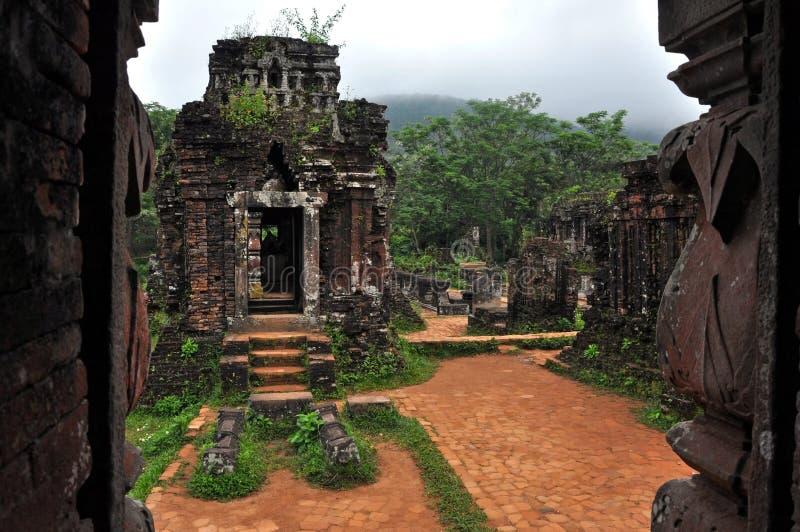 Mijn Hindoese Shiva Tempel van de Zoon, Quang Nam, Vietnam stock afbeeldingen