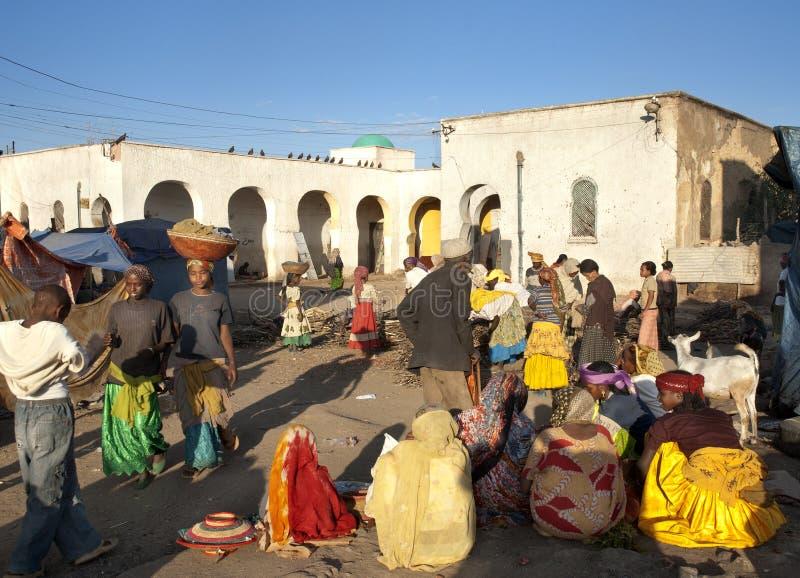 De plaats van de markt in harar Ethiopië royalty-vrije stock foto's