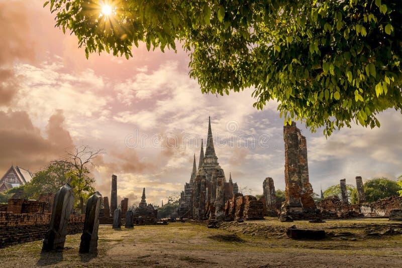 De Plaats van de werelderfenis in Wat Phra Si Sanphet Ayutthaya, Thailand royalty-vrije stock foto's