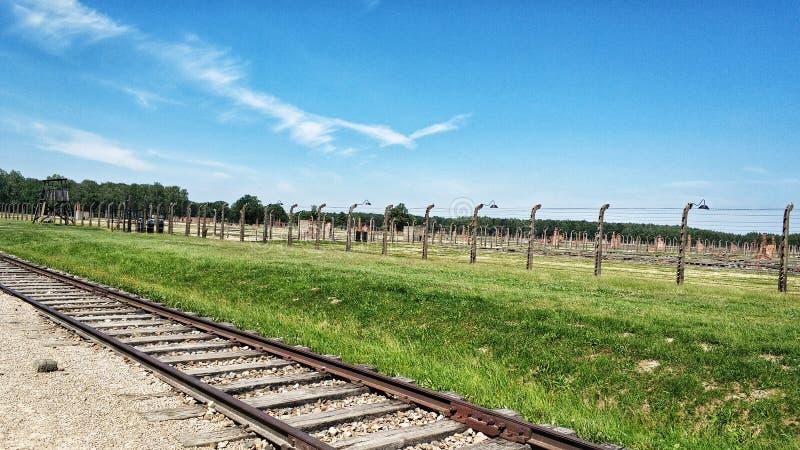 De plaats van het Auschwitzmuseum in Oswiecim, Polen stock foto's