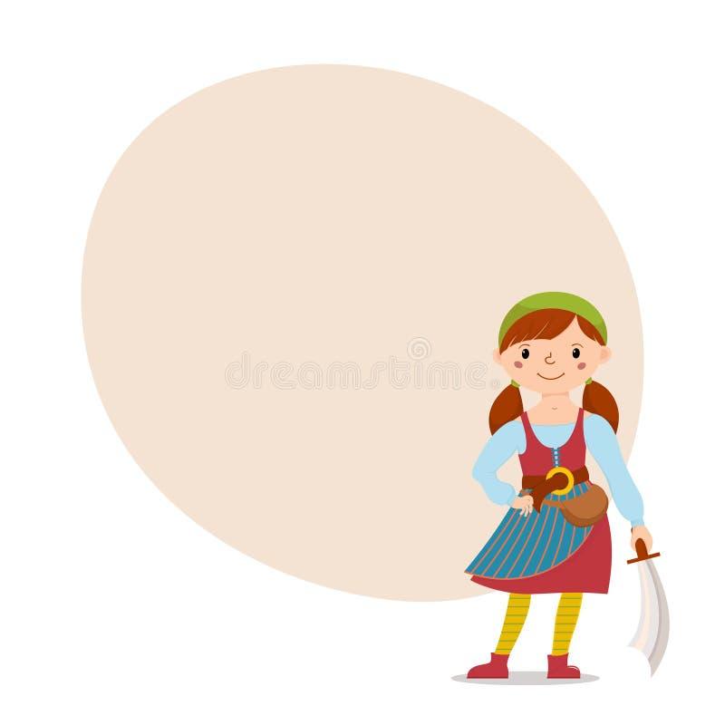 De plaats van de de holdingsmachete van het piraatmeisje voor tekst stock illustratie