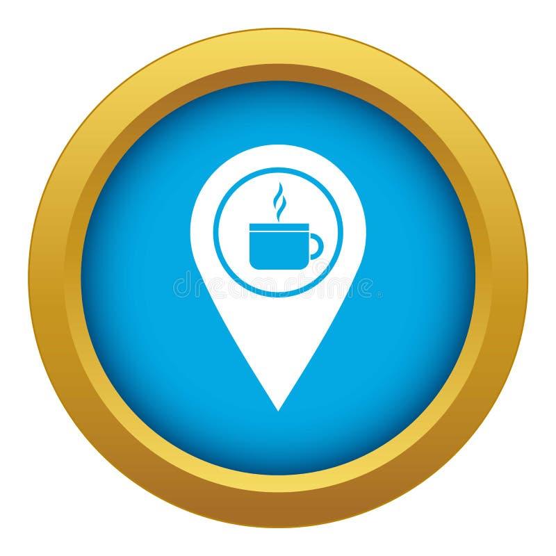 De plaats van de kaartspeld met thee of koffiekop ondertekent geïsoleerde pictogram blauwe vector stock illustratie