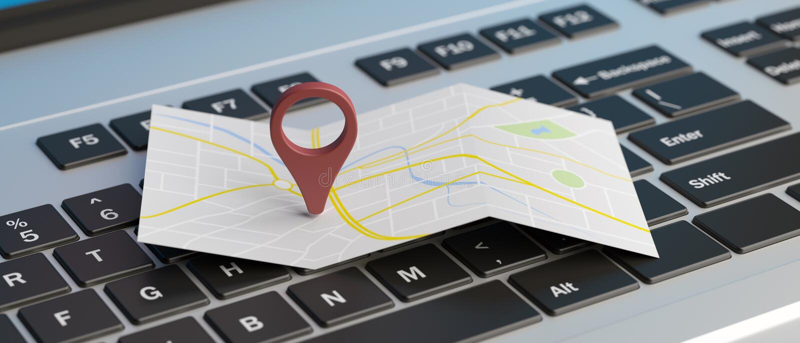 De plaats van de kaartwijzer op laptop 3D Illustratie vector illustratie