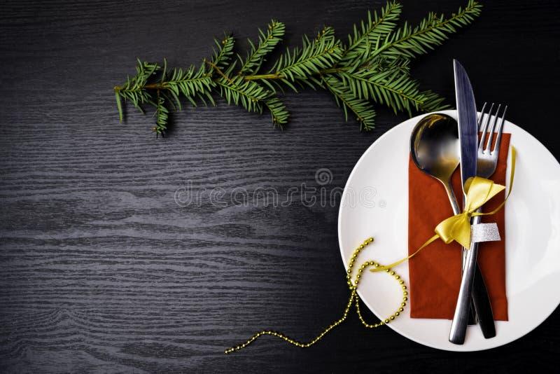 De plaats van de Kerstmislijst het plaatsen De achtergrond van de vakantie stock fotografie