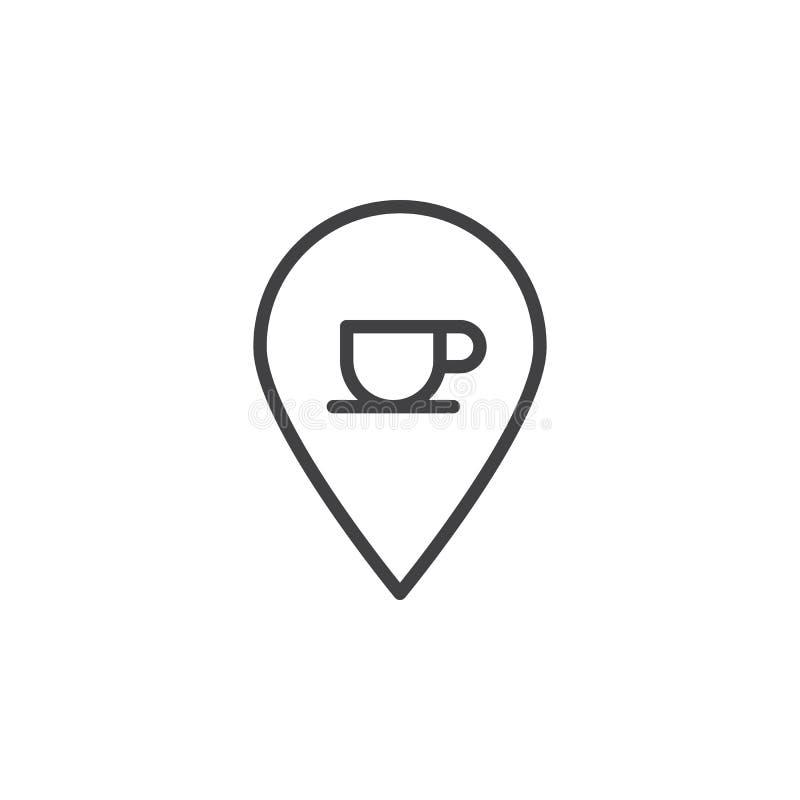De plaats van de koffiewinkel met de lijnpictogram van de koffiekop vector illustratie