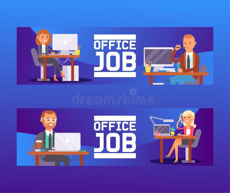 De plaats vector van het bedrijfs mensenwerk arbeider of persoon die aan laptop computer bij de lijst in bureauachtergrond werken stock illustratie
