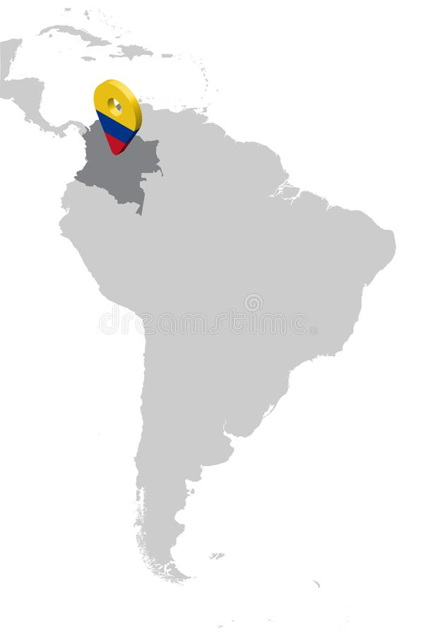 De Plaatskaart van Colombia op kaart Zuid-Amerika 3d van de de vlagkaart van Colombia speld van de de tellersplaats Hoog - kwalit stock illustratie