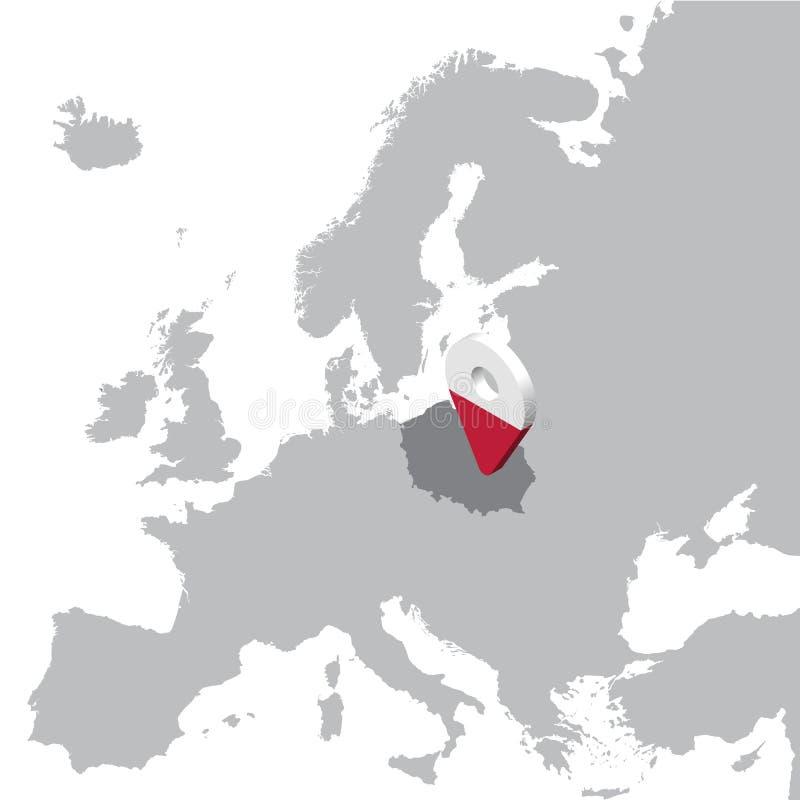 De Plaatskaart van Polen op kaart Europa 3d van de de vlagkaart van Polen speld van de de tellersplaats Hoog - kwaliteitskaart va stock illustratie