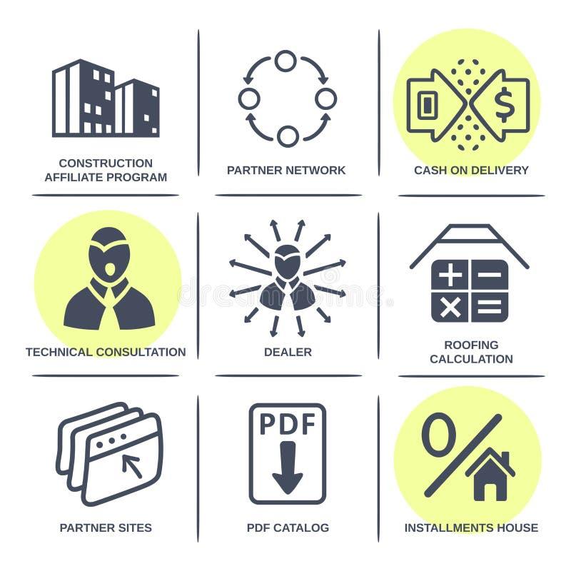 De plaatspictogrammen van verkoopbouwmaterialen stock illustratie