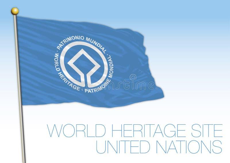 De Plaatsvlag van de werelderfenis, Unesco, de organisatie van de Verenigde Naties vector illustratie