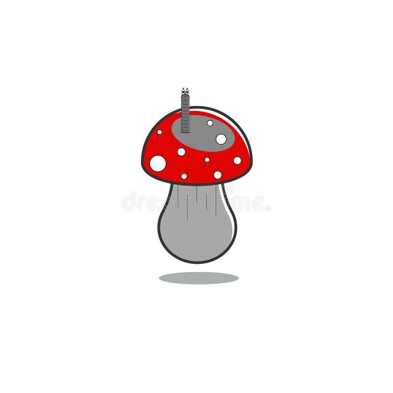 De plaatzwam van de paddestoelvlieg met een worm op ge?soleerde achtergrond in grijze tonen en rood GLB Vector illustratie stock illustratie