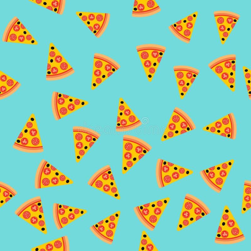 De plak naadloos patroon van de pizza Het kan voor prestaties van het ontwerpwerk noodzakelijk zijn Snel voedsel royalty-vrije illustratie