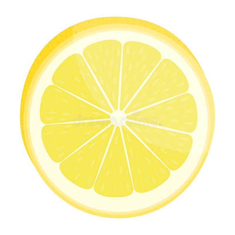 De plak van de citroen Citroenen en kalk Ge?soleerd op wit Vector illustratie royalty-vrije illustratie