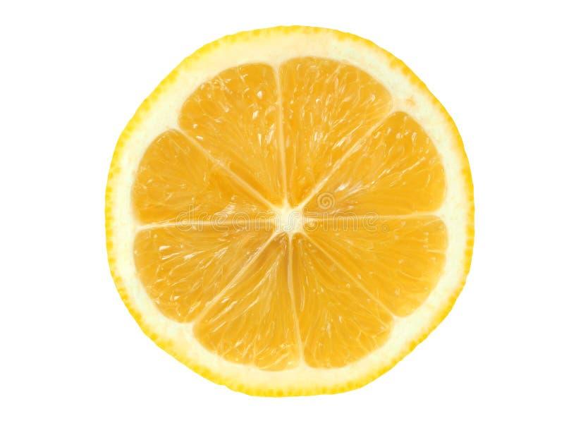 De plak van de citroen op wit stock fotografie