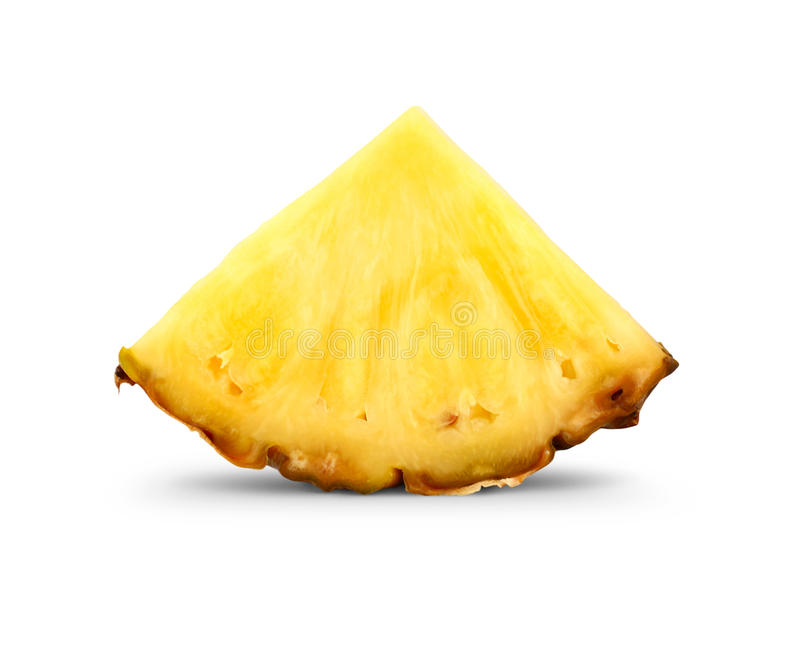 De plak van de ananas op wit stock foto's