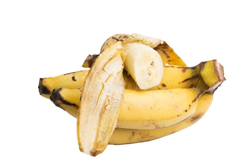 De plak van de banaan op witte achtergrond stock fotografie