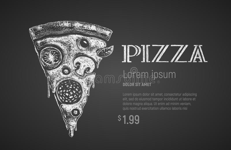 De plak van de pizza Krijttekening stock illustratie