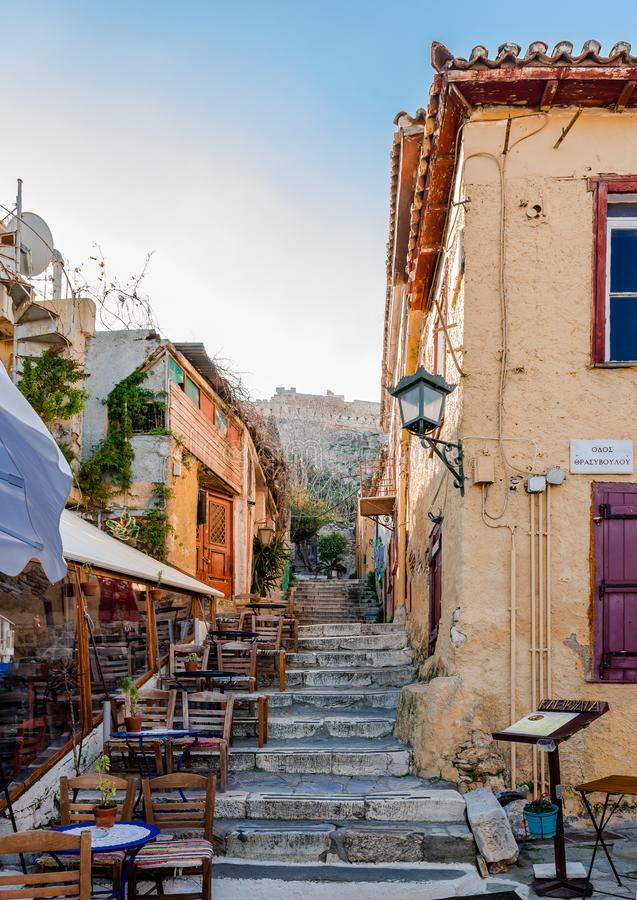 De Plaka-buurt in Athene royalty-vrije stock foto