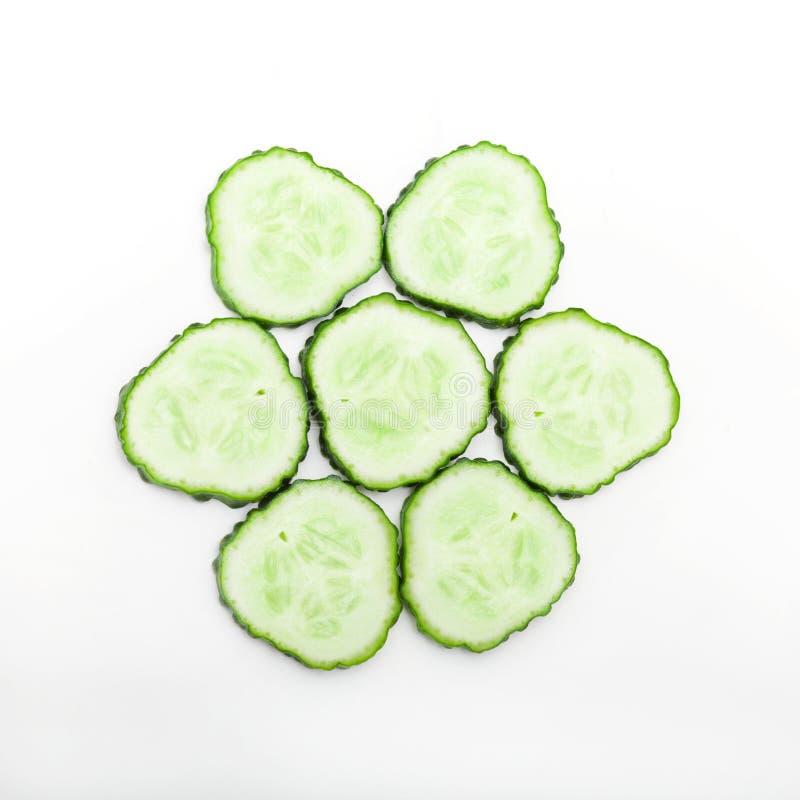 De plakken van de komkommer stock foto