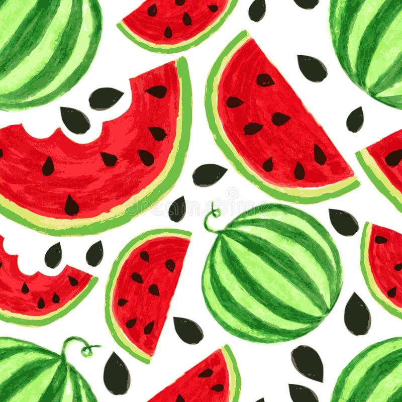 De plakken van de waterverfwatermeloen, naadloze achtergrond Vectorillust vector illustratie