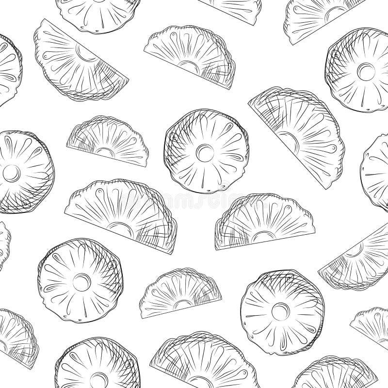 De plakken van het ananasfruit schetsen naadloos patroon Exotische tropische fruitachtergrond royalty-vrije stock fotografie