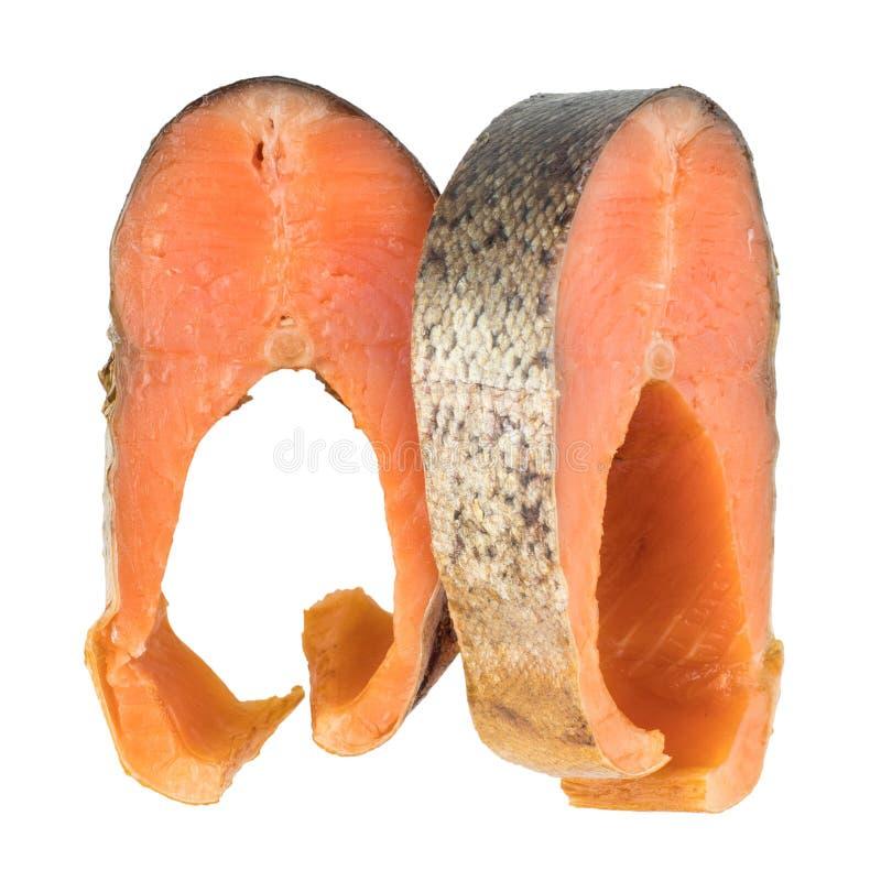 De plakken van Koude rookten Roze Salmon Or Humpback Salmon Isolated royalty-vrije stock foto's