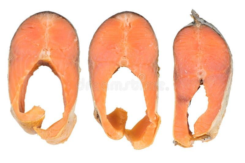 De plakken van Koude rookten Roze Salmon Or Humpback Salmon Isolated stock foto