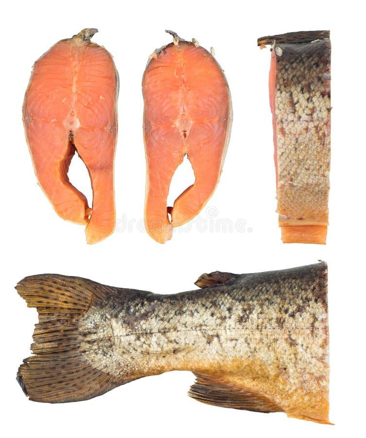De plakken van Koude rookten Roze Salmon Or Humpback Salmon Isolated royalty-vrije stock afbeelding