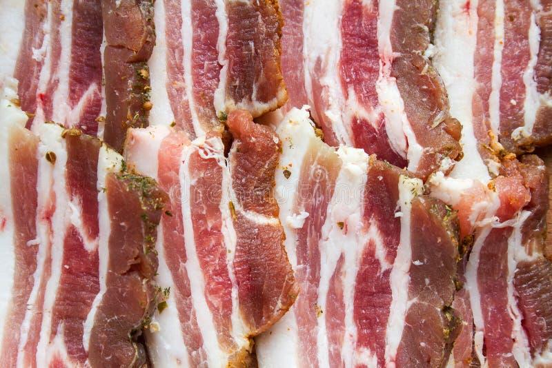 De plakken van sappig bacon royalty-vrije stock afbeelding