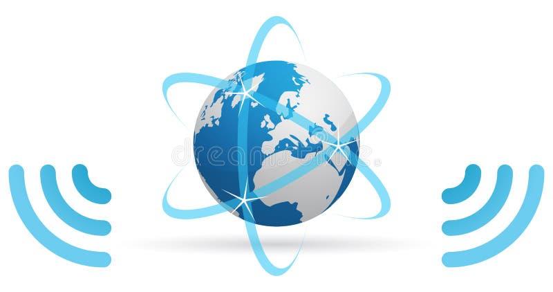 De planeet blauwe golven van het netwerk stock illustratie