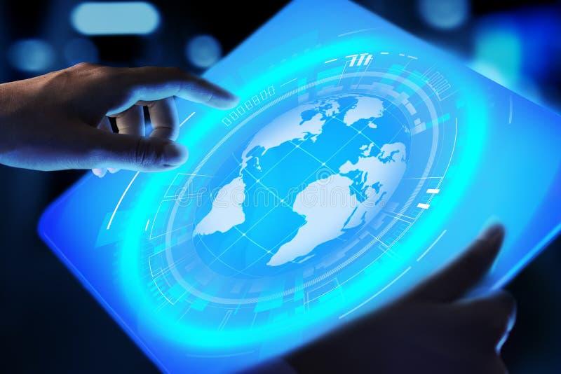 De Planeet de Commerciële van het aardehologram Telecommunicatie Wereldwijd van Internet en modern technologieconcept op het virt royalty-vrije stock afbeelding