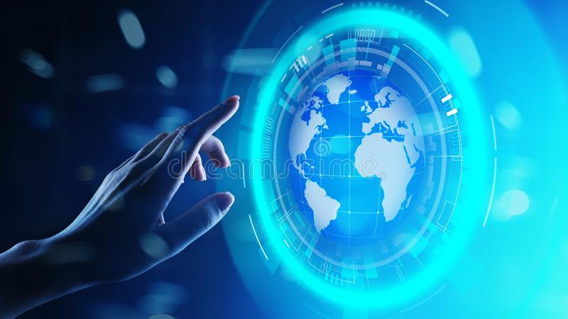 De Planeet de Commerciële van het aardehologram Telecommunicatie Wereldwijd van Internet en modern technologieconcept op het virt royalty-vrije stock afbeeldingen