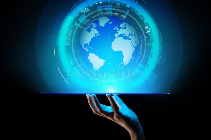De Planeet de Commerciële van het aardehologram Telecommunicatie Wereldwijd van Internet en modern technologieconcept op het virt stock foto's