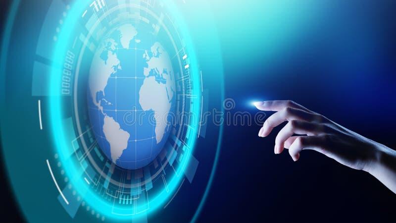 De Planeet de Commerciële van het aardehologram Telecommunicatie Wereldwijd van Internet en modern technologieconcept op het virt royalty-vrije stock foto