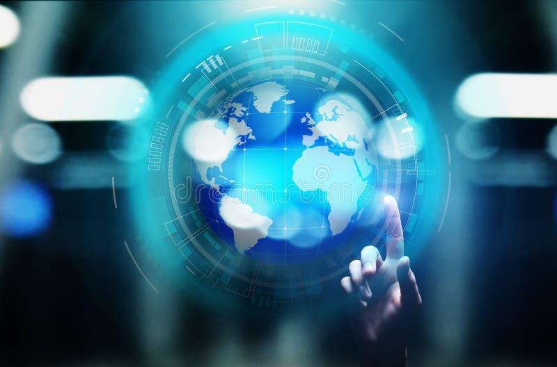 De Planeet de Commerciële van het aardehologram Telecommunicatie Wereldwijd van Internet en modern technologieconcept op het virt stock foto