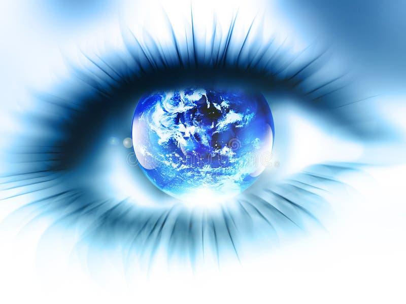 De planeet is in het oog stock illustratie