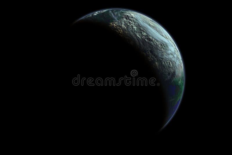 De planeet van de aarde bij dageraad vector illustratie