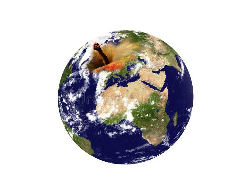 De planeet van de aarde een appel stock fotografie