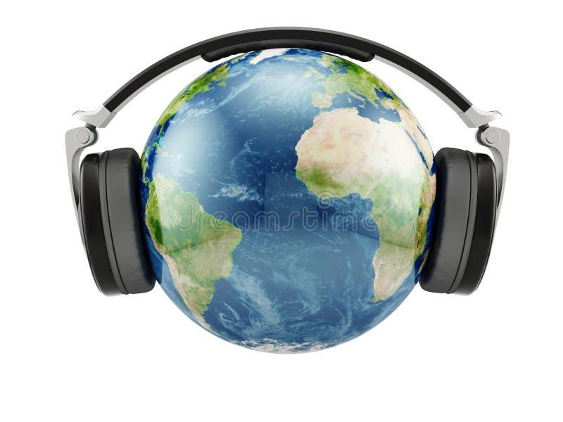 De planeet van de aarde met oortelefoons royalty-vrije illustratie