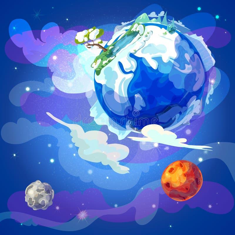 De Planeet van de beeldverhaalaarde in Ruimtemalplaatje royalty-vrije illustratie