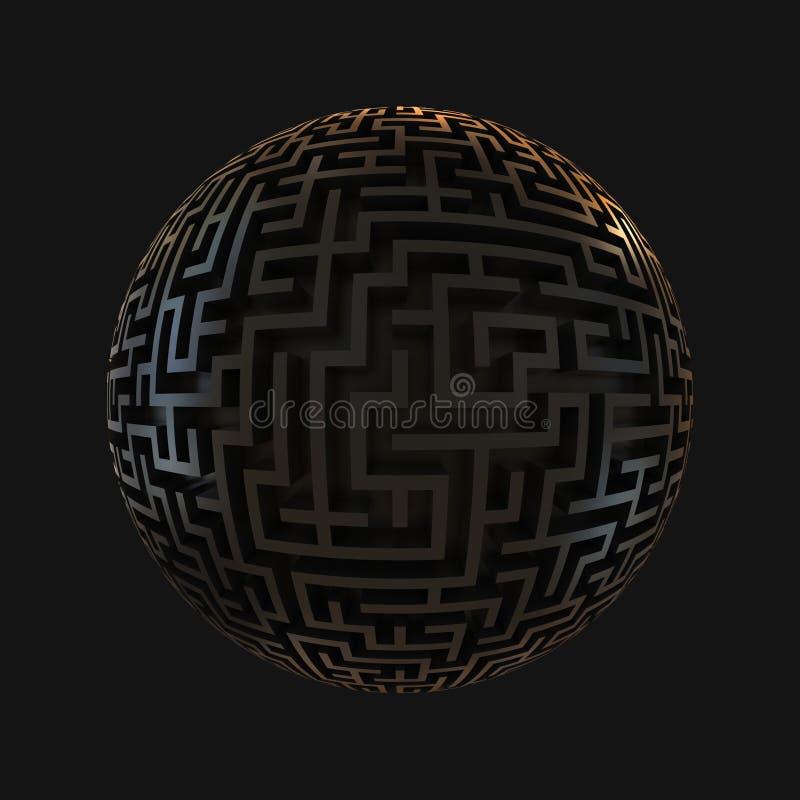 De planeet van het labyrint - eindeloos labyrint met sferische sha stock illustratie
