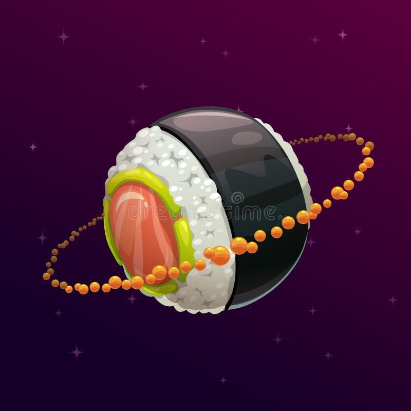 De planeet van het sushibroodje Fantasie ruimteillustratie vector illustratie